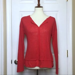 Sanctuary Red Mixed Media V-Neck Sweater Small